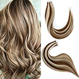 Remy Tape in Hair Extensions Human Hair Extensiones De Cabello highlights light Brown Color 6 to Color 613 Bleach Blonde Highlighted Tape in Human Hair Extensions 18 Inch Tape in Real Hair 50g 20 Pcs