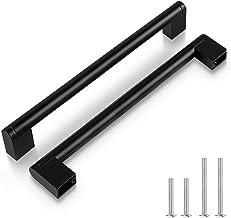 5 Pack zwarte kast hardware, 7 1/2 inch (192mm) gat centrum Euro bar kast handgrepen, keuken zwarte lade roestvrij stalen ...