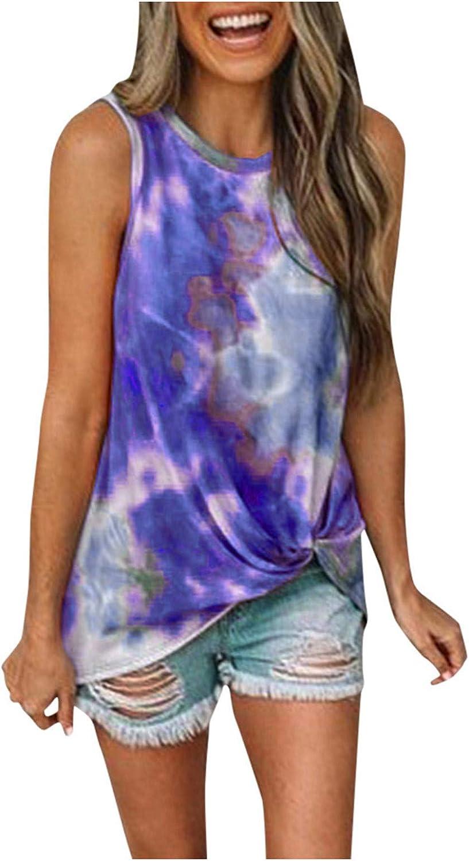 Sayhi Women's Round Neck Sleeveless Beach Blouse Tie-Dye Print Knot Front Summer Plus Size Tank Top