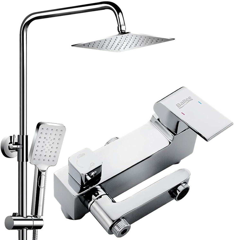 Elektroplattiertes Booster-Duschsystem, 8-Zoll-Edelstahl-Kopfbrause und 3-Funktions-Handbrause