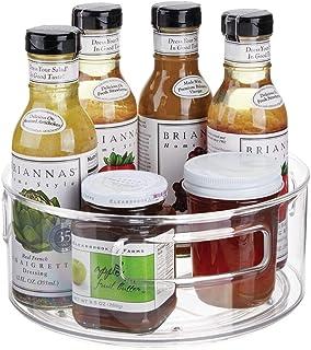 mDesign plateau tournant pour épices, huiles, etc. – carrousel cuisine en plastique et métal avec rebords élevés – accesso...