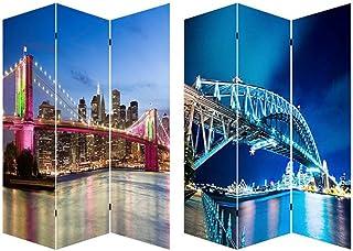comprar comparacion Home Line Biombo Separdor de ambientes, Puentes Brooklyn y Harbour Bridge, para Vestidor/Dormitorio. Bastidores de Madera....
