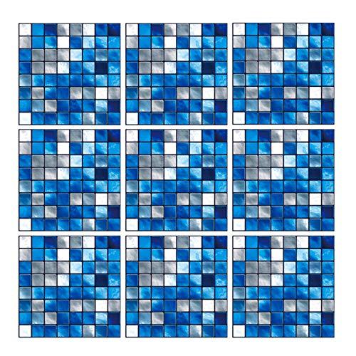Geoyien Mosaik Wandfliesen Aufkleber, 10 Stück Fliesen Tapete Selbstklebend Wand Fliesenaufkleber Wasserdicht Wand Tapete für Küche, Bad, Boden, Möbeln, Haus Dekoration, (15 cm x 15 cm, Blau)