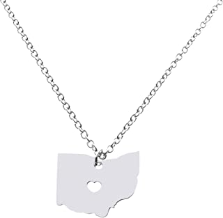 State Necklace Pendant Country Map Pendant Charm Jewelry Gift for Women Teens