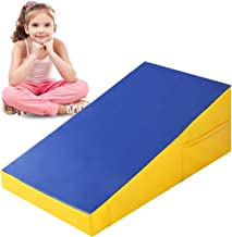 Giantex Incline Gymnastic Mat Wedge Shape Gymnastic, Gym Fitness Tumbling Skill Shape Mat for Kids Girls Home Training Exercise, Blue/Yellow