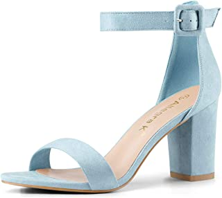 Allegra K Women's High Chunky Heel Buckle Ankle Strap Sandals