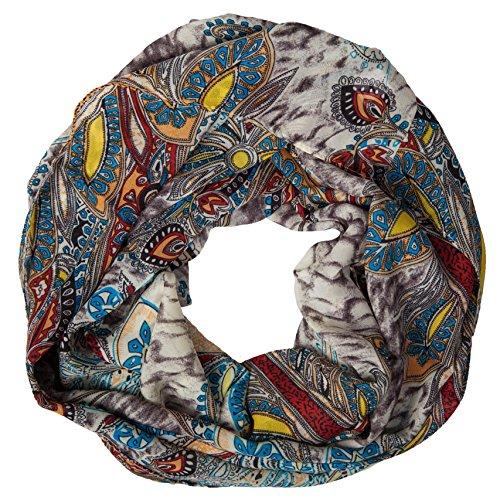MANUMAR Loop-Schal für Damen | Hals-Tuch in grau braun bunt mit Kunst Motiv als perfektes Herbst Winter Accessoire | Schlauchschal | Damen-Schal | Rundschal | Geschenkidee für Frauen und Mädchen