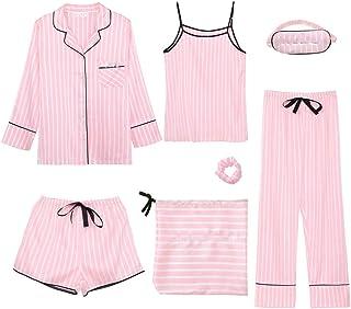 Tradebrite Women's 7 Pieces Pajamas Sets Emulation Silk Pyjama Women Sleepwear Sets Spring Summer Autumn Homewear