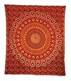Aga's Own Indische Mandala Tagesdecke, Wandtuch, Tagesdecke Mandala Druck - 100prozent Baumwolle, 210x240 cm, Bettüberwurf, Sofa Überwurf VIELE Varianten (Muster 18)