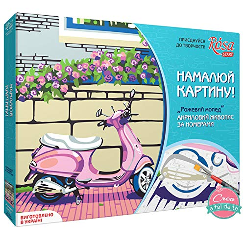 Rosa Start - Kit para Pintar sobre Lienzo de Colores acrílicos - Pintar con los números - Pink Motorbike - Dimensiones: 35 x 45 cm
