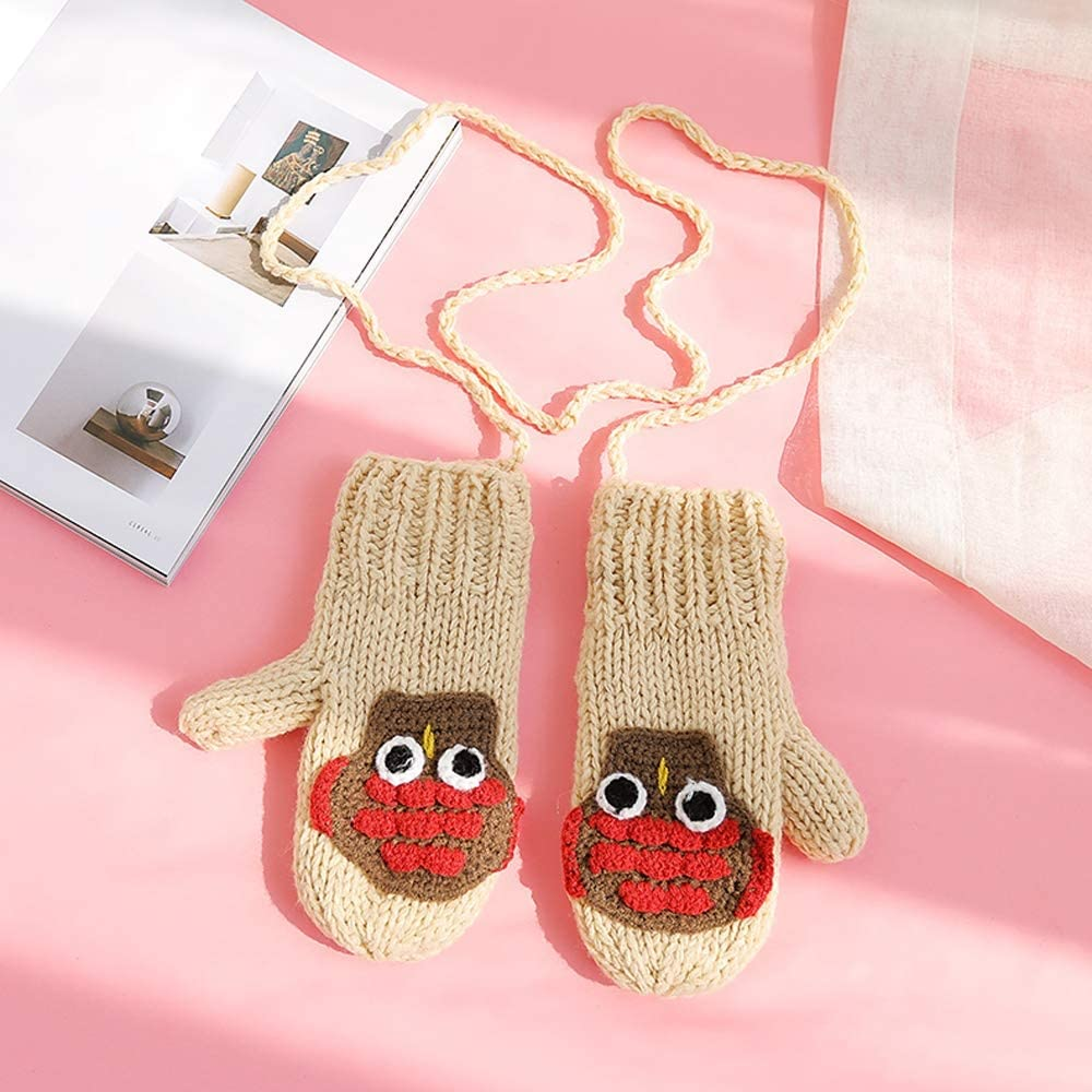 Rebily Hand Knitting Autumn and Winter Ladies Gloves Hanging Neck Plus Velvet Keep Warm Cold Protection Lovely Cartoon One Size Lanyard Package Gloves