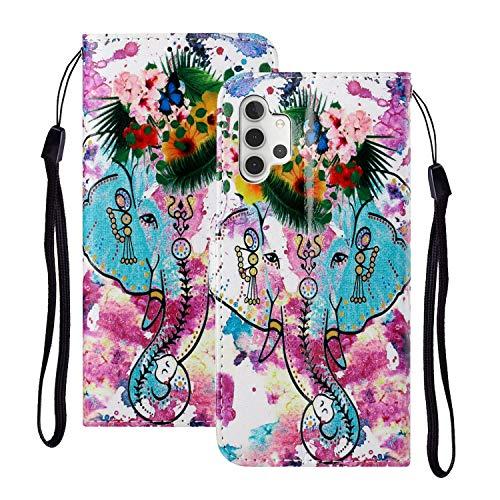 YKTO Hülle für Samsung Galaxy A32 5G Glattes PU Leder Brieftasche Wallet Lederhülle Klapphülle Oberfläche Handytasche Flip Case Schutzhülle Handyhülle Schale für Samsung A32 5G Etui Blumen Elefant