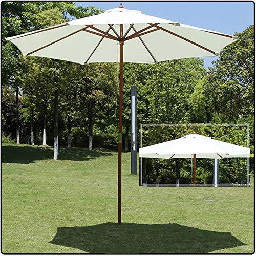DFBGL Parasol de Playa de jardín al Aire Libre con Poste de Madera de 2,7 m para Patios, Pubs, Bares, restaurantes, cafés y hoteles - Crema