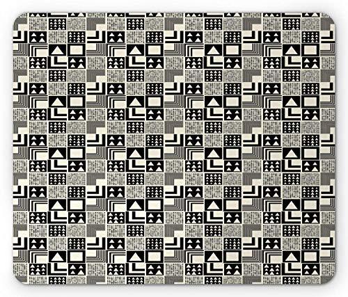 Mausmatte,Spiel Mauspad,Geometrische Mauspad,Boho-Stil Stammes Abstrakte Quadrate Dreiecke Azteken Zeitgenössische Art Deco Wie,Matte Mäuse Mousepad Gaming Mauspads Für Büro & Zuhause,Graue Creme