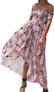 WoWer Damen Blumendruck Sommerurlaub Strand langes Kleid gewickelt Riemen Schulter Blumenkleid Rock Split Kleid