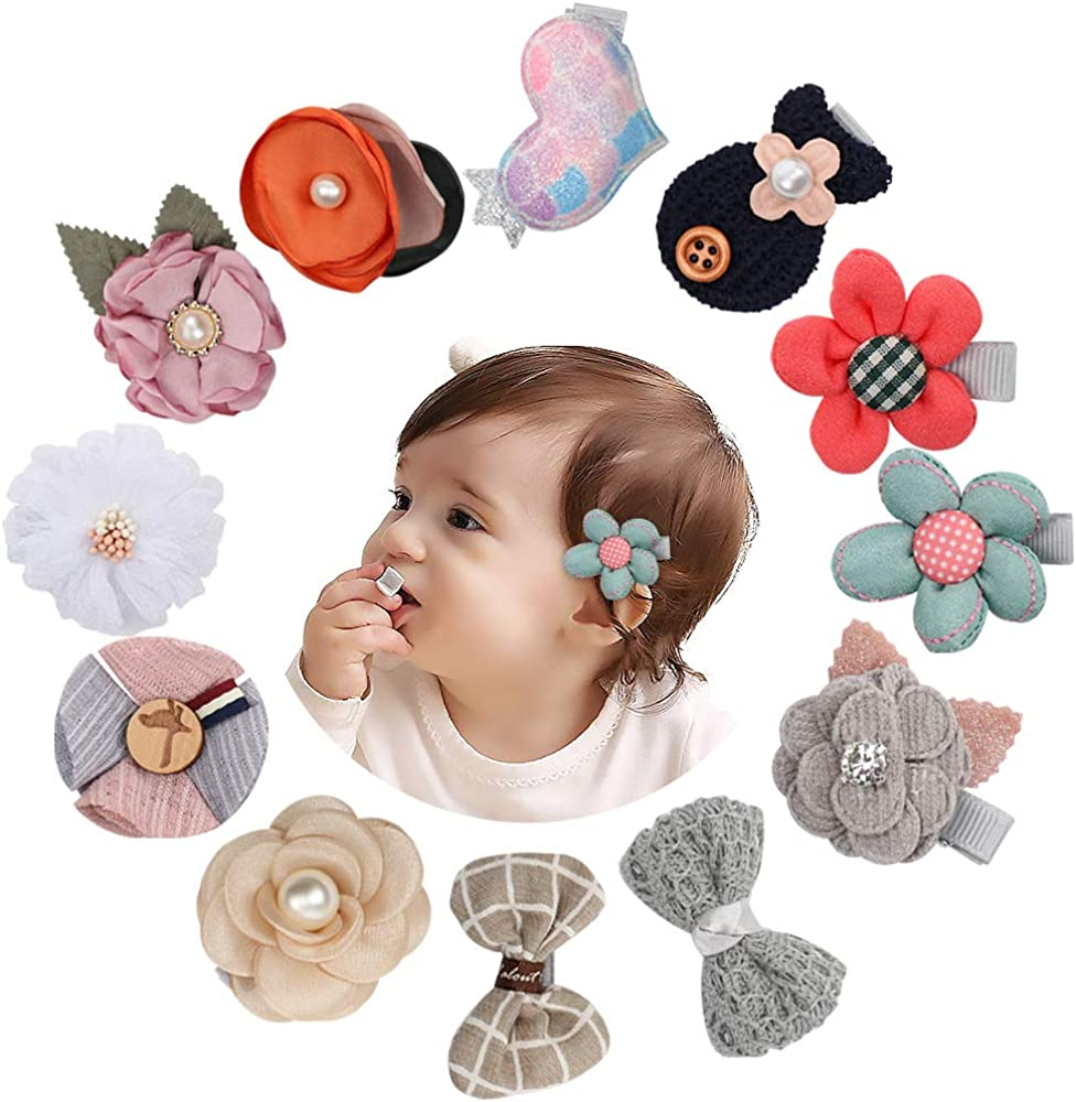 Baby Girls Hair Clips with Flower Lined Under blast sales 12pcs Today's only Bow Boutique Fully
