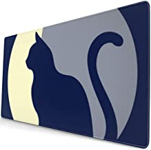 Computer Game Mouse Pad Moon Cat Large Mousepad Keyboard Rubber Non-Slip Desk Cover Mouse Mat (15.8x29.5x0.1 in)
