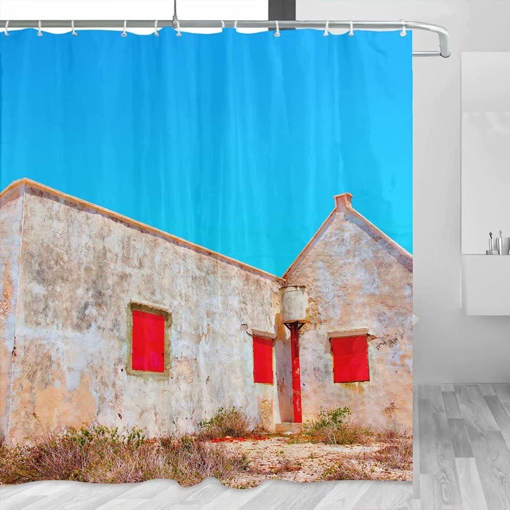 Bonaire YL-00739 - Cortina de ducha de viaje con ganchos de poliéster (72 x 72 pulgadas)