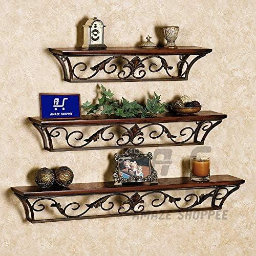 Amaze ShoppeeFloating Shelf,Creative Wrought Iron Wall-Mounted Bookshelf Bedroom Living Room Decoration (Brown)