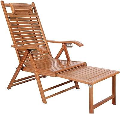 椅子 折りたたみ 家庭、調整可能な、リクライニングシートとフットレストのエンターテイメント夏のテラスやバルコニーのデッキチェア竹折りたたみ椅子