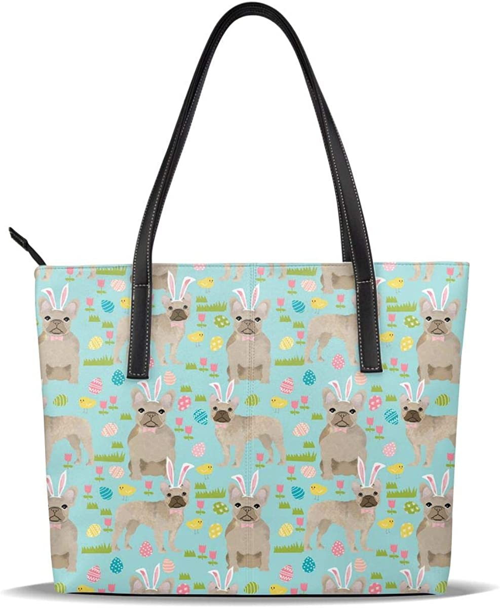 Max 45% OFF Easter French Bulldog Ranking TOP1 Dog Cute Funny Fawn Printe Blue Leather PU