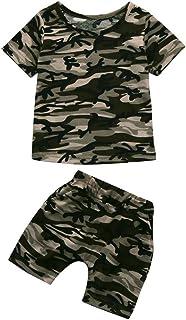 7 A/ños Pantalones de Camuflaje Trajes 12 Mes Amlaiworld Conjunto de Ropa de beb/é Ni/ños Chicos Tops Camiseta de Letra de beb/é