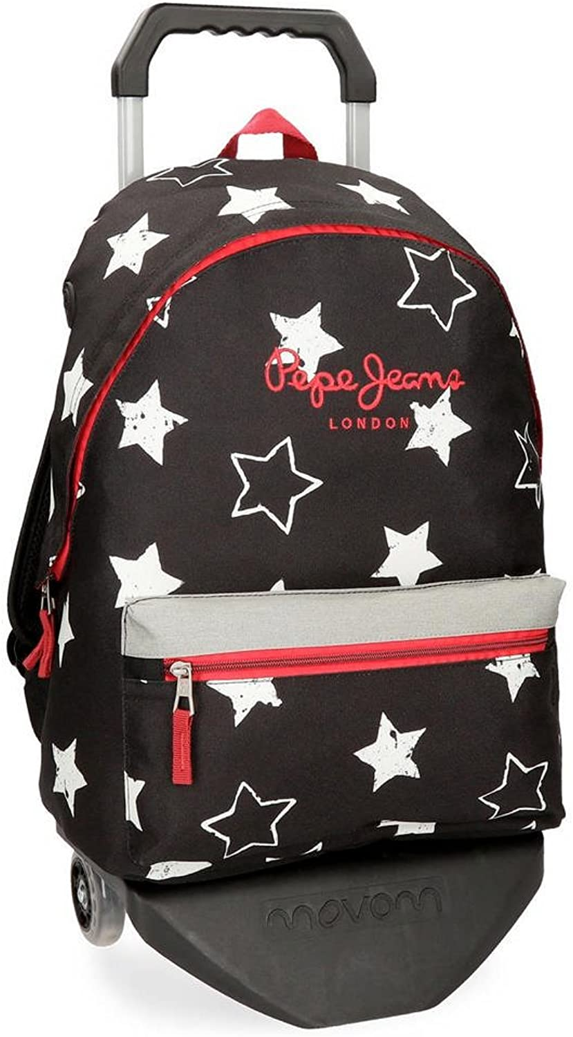 Pepe Jeans Jessa School Backpack, 42 cm, 22.79 liters, Black (black)