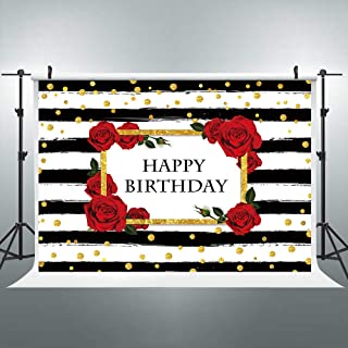 Riyidecor Happy Birthday Black and White Striped Backdrop Red Rose Golden Glitter Dot Photography Backgrounds Woman Girl's 1st 7x5 Feet Decoration Props Party Photo Shoot Vinyl Cloth