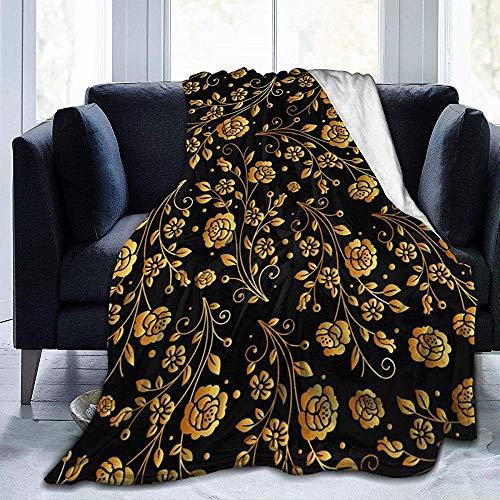 Niet geschikt zachte deken zwart gouden roos deken superzachte luxe warme alle seizoenen 50 * 40 inch
