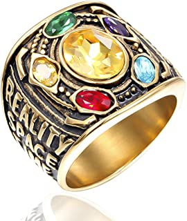 Thanos Ring Avengers Infinity War Soul Stone Power 18k Gold Plated Stainless Steel Jewelry Ring