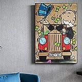 Pintura decorativa Graffiti abstracto el tiempo es dinero millonario impresiones artísticas de dibujos animados póster pintura sobre lienzo cuadro de arte de pared para sala de estar 50x75cm
