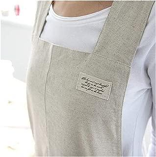 Japanese Style X Shape Cotton Linen Apron Beige Linen True Color Halter Cross Bandage Aprons Kitchen Cooking Apron