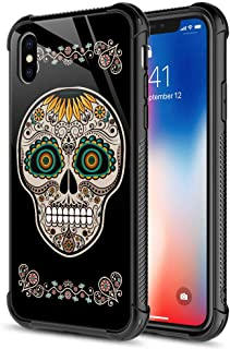 iPhone XR Case,Sunflower Sugar Skull iPhone XR Cases, Tempered Glass Back+Soft Silicone TPU Shock Protective Case for Apple iPhone XR Sunflower Sugar Skull