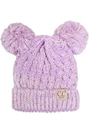 ScarvesMe Children Kids Girl Boy Ages 2-7 Cable Knitted Lining Inside Chunky Thick Stretchy Beanie with Pom