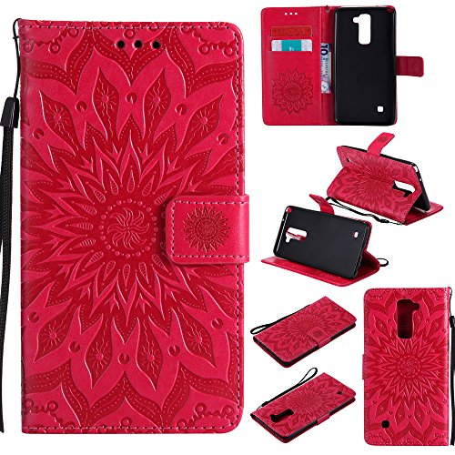 NEXCURIO [Embossed Flower] LG Stylo 2 / Stylo 2 Plus/Stylo 2 V Wallet Case with Card Holder Folding Kickstand Leather Case Flip Cover for LG Stylo 2 / Stylo 2 V (Red)