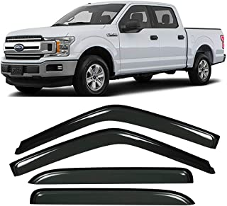 Gevog 4-Piece Side Window Deflector Original Window Visors for 15-19 Ford F150, 17-19 Ford F250 F350 Super Duty Crew Cab (Supercrew Cab) Sun Rain Guard Ventvisor 94975