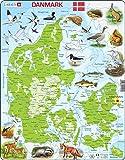Larsen K78 Dänemark Physische Karte, Dänisch Ausgabe, Rahmenpuzzle mit 66 Teilen