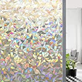 Glightor Stained Glass Window Privacy Film, 3D Decorative Rainbow Window Clings Decals, Static Cling Window Sticker Non-Adhesive, 17.7 x 78.7 inches