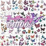Qpout Tatuaggi temporanei di farfalle per bambini Donne, 150+ adesivi 3D per tatuaggi farfalle di design Tatuaggi colorati impermeabili per ragazze Donne Farfalla Decorazione Regalo di compleanno