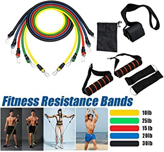 $23 » Fine 11Pcs Fitness Resistance Bands Set, Natural Rubber Latex Fitness Resistance Bands, Exercise Elastic Pull String (Pull The Tube, Foam Handles, Ankle Straps, Door Anchor, Storage Bag)