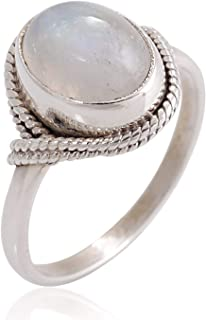 925 Sterling Silver White Moonstone Oval Rope Edge Vintage Handmade Band Ring For Women Size-4,5,6,7,8,9