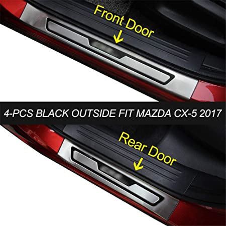Rear Outer Bumper Protector Trim Door SILL Scuff Cover Plate Accessories for Mazda CX-5 CX5 2017 2018 2019 Car Styling Trunk Protection Size : External 1pcs