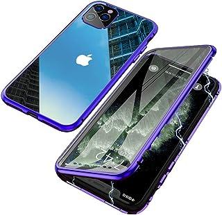 Jonwelsy Funda para iPhone 11 Pro (5,8 Pulgada), Adsorción Magnética Parachoques de Metal con 360 Grados Protección Case Cover Transparente Ambos Lados Vidrio Templado Cubierta (Azul)