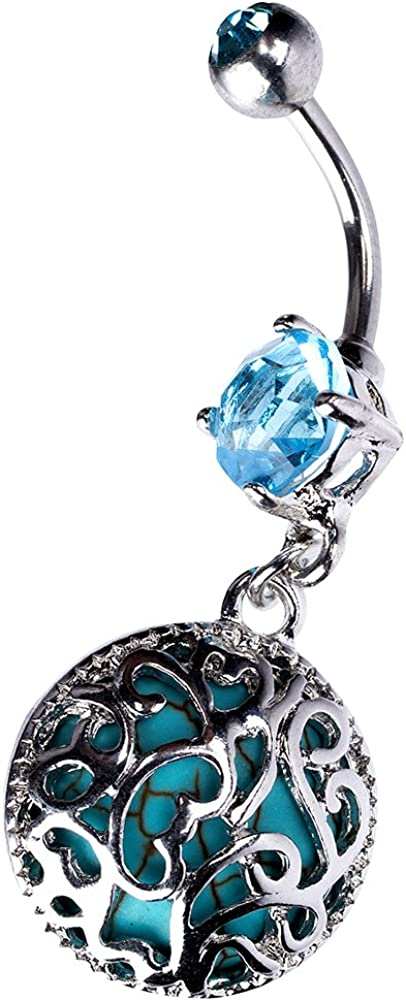 Navel Piercing Body Jewelry in 14 Gauge Stainless Steel w Filigree Synthetic Turquoise Dangler Charm
