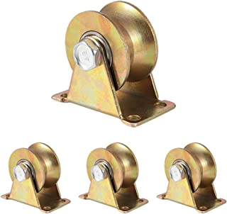 "Skelang 4 Pcs 2"" U-Type Groove Wheel Heavy Duty Rigid Caster with Bracket for Inverted Track, Rolling Gate, Industrial Machines, Wire Rope Rail, Loading Capacity 660 Lbs"