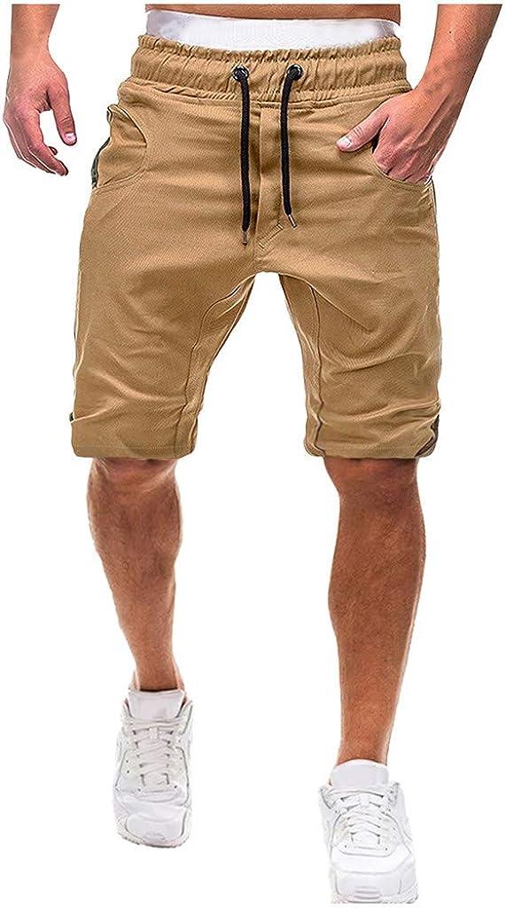 Forthery Cargo Shorts for Men Cotton Drawstring Beach Elastic Waist Multi Pocket Cargo Shorts