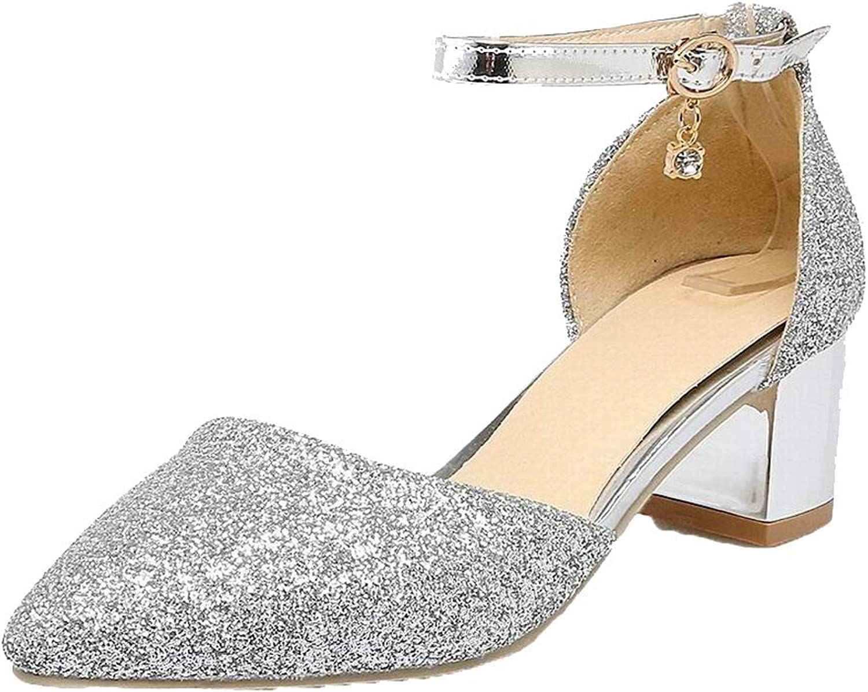 AmoonyFashion Women's Closed-Toe Kitten-Heels Solid Sandals, BUTLT007850