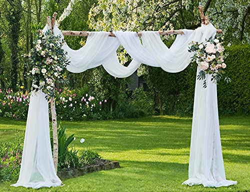 Warm Home Designs Extra Long White Sheer Window Scarf. Valance Scarves are 56 X 216 Inches in Size. Great As Window Treatments, Bed Canopy Or for Decorative Project. AM White 216