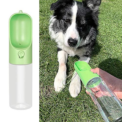 DZL- Botella Agua Perro Botella de Agua para Mascotas Bebedero Portátil de Viaje para Perros y Gatos Fuente Portátil para Mascotas 400ML (Verde)