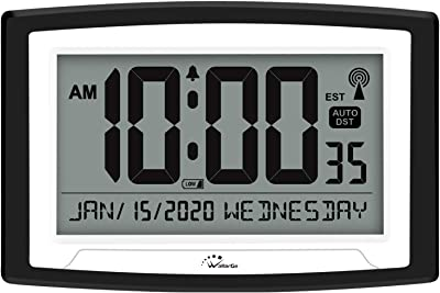 WallarGe Atomic Clock,Self-Setting Alarm Days Clock,Digital Wall Clock or Desk Clock,Battery Operated,Digital Clock Large Display for Seniors/Alzheimer's,Auto DST,4 Time Zone,12/24Hr.(Black-Date)